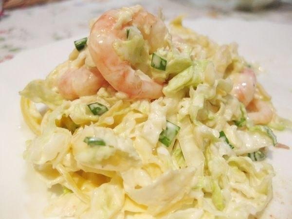 Салат с сыром и креветками фото рецепт