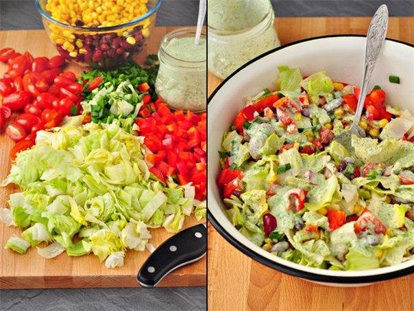 Салат овощной заправленный кефиром